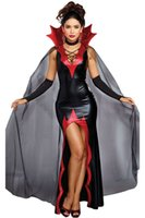 2 PCS Disolute Killing It Halloween Costume Red Spiked Collar Deep V Neck High Slit Maxi Party Dress with Mesh Cape