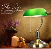 Wholesale Vintage Acrylic Lamps - DIA26*H37cm Quality Glass Acrylic Lampshade Bank Lamps Nostalgic Study Lights Table Desk Lamp Office Lighting Fashion Vintage Led Lamp