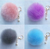 Wholesale ladies keyrings - 8cm Faux Rabbit Fur Ball Pompon Keychain Trinket Fluffy Pom Pom Pearl Keychain Lady Keyring Holder Bag Pendant CCA7833 100pcs