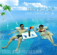Wholesale fashion Summer Outdoor Floating Stripe Sleeping Swimming Bed Relax Water Floating Chair Inflatable paddle essential artifact