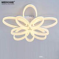 Wholesale Acrylic Led Ceiling Light - Acrylic Flush Ceiling Lights White Light Frame Home Decorative Lighting Fixtures Oval LED Lustre Lamp for Living Room Chandelier Lustres