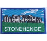 "Wholesale England Souvenir - 3"" Stonehenge Patch Embroidered Badge UNESCO Souvenir Applique Wiltshire England iron on sew on t shirt transfer"