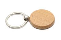 anahtarlık oyma toptan satış-Boş Daire Ahşap Anahtarlık Daire 1.25 '' Anahtarlıklar 50X / lot Ücretsiz Gravür anahtarlık KW01Y