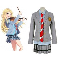 Wholesale Anime School Uniform - Wholesale-Your Lie in April Miyazono Kaori Arima Kousei cosplay Costume Japanese anime school uniforms for girls&boys suits