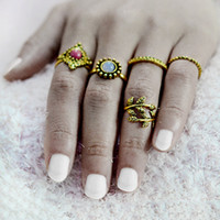Wholesale Tree Rings For Finger - 5 pcs set Gold Color Tree Leaves Leaf Ring Sets for Women Girl Boho Beach Vintage Punk Finger Rings Natural Stone Jewelry Gift