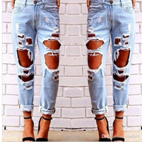 Wholesale Preppy Clothes For Women - Hot Women Ripped Sexy Jeans Destroyed Ripped Distressed Slim Denim Pants Casual Hip Hop Clothing Trouser for Female Free Shipping