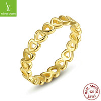 Wholesale Women S Gold Wedding Rings - Special offer BAMOER 925 Silver Wedding Rings Women Pandora Style Genuine 14K Gold Hearts With Hearts Ring For Lady Valentine 's Day Gifts