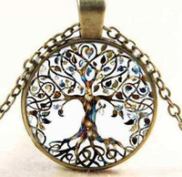 Wholesale Bronze Cross Pendants - Tree of Life Glass Cabochon Necklace Alloy Vintage Necklaces Natural Stone Bronze Chain Pendant Necklace Nice Jewelry Accessary-B42