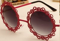 Wholesale Retro Flower Sunglasses - Women Metal Hollow Out Round Sunglasses Vintage Retro Sun Glasses Fashion Lace Flower Glasses 12pcs Lot Free Shipping