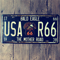 Wholesale Road Eagles - new 2015 Mother Road R66 Bald Eagle Vintage License plate Poster Retro Metal Painting Tin Plate Cafe Wall Sticker Home Art Decor Tin sign