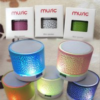 Wholesale Mini Speaker For Pc Mp3 - Wireless Speaker Bluetooth Mini Speakers A9 Led Colored Flash Speaker FM Radio TF Card USB For iPhone X 8 Mobile Phone PC S8