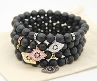 Fashion Man Bracelets Micro Inlay Zircon Eyes Pendentifs Natural Agate Stone Stretch 8MM Black Nature Beads Bangle Wholesale