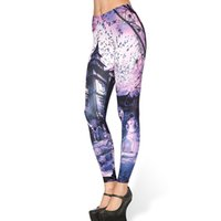 Wholesale House Leggings - New Arrival 3581 Sexy Girl Women Halloween Skull Haunted House Purple 3D Prints Elastic Fitness Polyester Sport Leggings Yoga Pants
