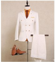 ternos brancos quentes venda por atacado-Hot sale made Double Breasted Casamento Ternos Do Noivo Smoking Terno Branco Ternos Formais Melhor Homem Groomsman ternos (Jacket + Pants + Coletes)
