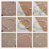 Wholesale fashion bracelets online - Clover heart butterfly sterling silver bracelet 8 pieces mixed style GTB10 Online for sale fashion women's 925 silver bracelet