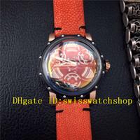 Wholesale Steel S4 - Luxury Brand 316L Black Steel Navigator-S4 #1601 Automatic Men's Watch Black Dial Red Devi Fish Skin Strap Mans Wristwatches