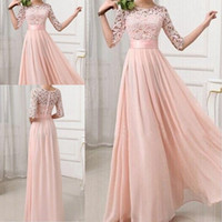 Wholesale Silver Long Sleeve Dresses - Formal Bridesmaid Dresses Sexy Chiffon Long Maids Of Honor Bridesmaids Dress With Lace Pink Champagne Royal Blue Gowns 2016 For Cheap