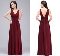 Wholesale Modest Designer Wedding Gowns - 2018 New Cheapest Burgundy Chiffon Designer Bridesmaid Dresses Simple Modest V Neck Maid of Honor Gowns For Wedding Cps730