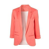Wholesale Plus Size Office Jackets - Candy Color Women Leisure Jacket Bolero Skinny 3 4 Sleeve Feminino Blazers Tops Plus Size Office OL Lady Coat Suit Mujer Tops Free Shipping