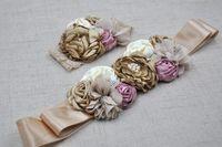 Wholesale Custom Showers - Girls Blush Lace Pearl Headband and Sash set Matching Rosette Shabby Flower Girl Headband Sash Custom Bridal Wedding Baby Shower Sash