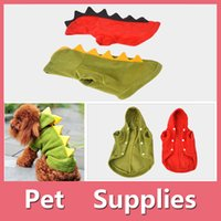 Wholesale Red Dinosaur Costume - Pets Dog Puppy Cat Winter Clothes Coat Apparel Warm Jacket Hoodie Cute Dinosaur Costume With 2 Color 160909