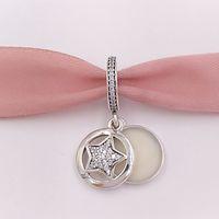 Wholesale Silver Star European - Authentic 925 Sterling Silver Beads Friendship Star Pendant Charm Charms Fits European Pandora Style Jewelry Bracelets & Necklace 792148EN23