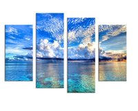 Wholesale Framed Art Ideas - 4PCS beautiful ocean sunset landscape Wall painting print on canvas for home decor ideas paints on wall pictures art