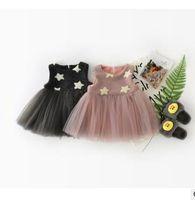 Wholesale Stars Suspender - Baby girls princess dresses toddler kids five-star printed suspender dress Infants tulle splicing vest dress Winter children outwears G1615
