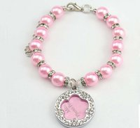 Wholesale Diamond Necklace Photos - Charming Pearl Pet Collar Necklace With Diamond Flower Safety Pet Collar With Mini Photo Tag S Size 3 Color Mix Order Min Order 10PCS