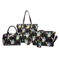 Wholesale flower tote bag pattern resale online - 2017 New fashion handbags woman designer bags whole set messenger crosssbody single shoulder bags totes classical flower pattern purse