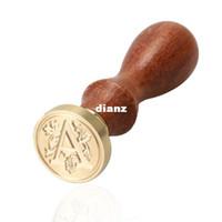 bois d'estampage à chaud achat en gros de-Alphabet chaud lettre lettre Cire à cacheter rétro bois Cachet initial cachet à cire classique