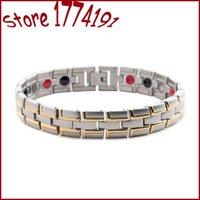 Wholesale Anion Germanium Bracelet - Top sale 4 in 1 anti-fatigue bracelets magnets FIR anion magnetic energy germanium stones power health healing bracelet