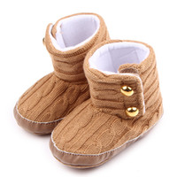 Wholesale Crochet Loops - Warm Baby Girls Boots Woven Wool and Cotton Fabric Big Rivet Hook&loop Warm Linning Soft Anti-slip Sole Infant Walking Shoes 0-18 Months