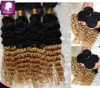Wholesale Brazilian Deep Curl Hair Extensions - Nice Ombre Brazilian Virgin Hair Extensions deep curl Full Human Hair Weave Bundles 2 Tone Color Ombre Brazilian Hair