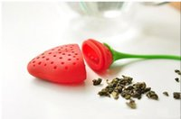 Creative Red Strawberry Silicone Tea Infuser Kettles Eco Friendly Tea Strainer Ball Gadgets de Cocina Portátiles MINI 10 unids / lote