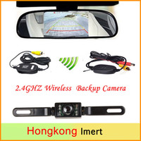 """Wholesale Wireless Parking Camera Rearview Mirror - Wireless Reverse Car Rear View Camera HD Video Parking LED Night Vision CCD Waterproof + 4.3"""" TFT Rearview Mirror Monitor"""