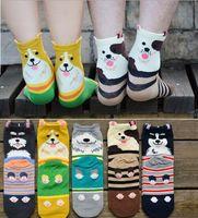 hommes chaussettes corée achat en gros de-Corée style stéréo chien chaussettes femmes hommes 100% coton bande dessinée chaussettes amants chaussettes du tube du milieu
