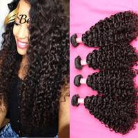 boyalı bakire peru saç toptan satış-Bella Hair® 4 adet 11A Bakire Saç Demeti Brezilyalı Hint Perulu İşlenmemiş İnsan Saç Dokuma Kıvırcık Dalga Doğal Renk 613 için boyanmış olabilir