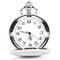 Wholesale roman numerals numbers - Men's Vintage Antique Silver Roman Numerals Unisex Dial Arabic Numbers Gift Stainless Steel Quartz Pocket Watch