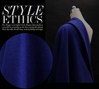 Wholesale Wool Cashmere Coat Fabric - Sapphire blue coat European American High-end Elegant Fashion Womens Stripe Wool Fabrics for Clothes Overcoat coat Cashmere fabric B150