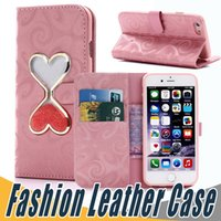 Wholesale Hourglass Liquid - Fashion Leather Case Liquid Hourglass Leather Cases Kickstand Holder Cover with Wallet Card Slot For iPhone X 8 7 6 6S Plus 5 5S SE