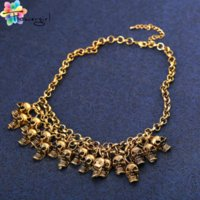 Wholesale Coolest Cheap Jewelry - Flowergirl 2016 Fashion Chain Skull Women Statement Necklace Gold Silver Cool Jewelry Accessories [N017] Cheap necklace orchid