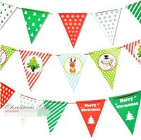 Wholesale Paper Pennant - 3 Style Flag Banner Paper Pennant Bunting Garland Christmas Party Decoration Home Ornament Christmas Decorations CCA7877 100set