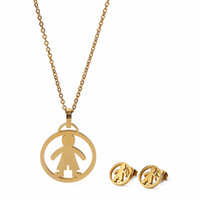 Wholesale Gold Earrings For Kids - 2017 Stainless Steel Gold Plated Jewelry Set Children Boy and Girl For Kids Cute For Parents