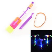 Wholesale Light Copter Toy - Shining Rocket Flash Copter Arrow Helicopter Neon Led Light Amazing Elastic Powered LED Flash Rotating Flying Arrow Toy Party Gift TY1837