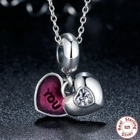 Wholesale Pandora Heart Dangle Charms - YOU & ME Forever Together Heart Silver Dangle Charms with Pink Enamel Genuine 925 Sterling Silver for Pandora Style Bracelets S307