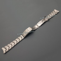 Wholesale End Clasps - Free shipping 20mm New silver brushed stainless steel Curved end watch band strap Bracelets For watch