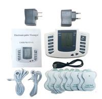 máquinas de massagem muscular venda por atacado-Estimulador elétrico Corpo Inteiro Relaxar Terapia Muscular Massageador Massagem Pulso dezenas Acupuntura Máquina de Cuidados de Saúde 16 Almofadas