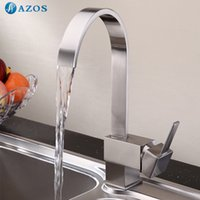 Cheap AZOS Kitchen Sink Faucet Modern Square Single Handle Deck Mount Mixer  Nickel Brushed Silver Color