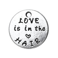 Wholesale Antique Hair Bracelet - My Shape Love is in the Hair Message Charm Zinc Alloy Antique Silver Plated Pendant For Necklaces and Bracelets